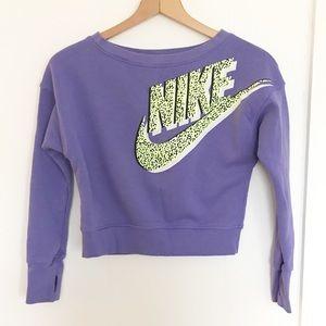 Nike retro purple crop sweatshirt thumb holes M